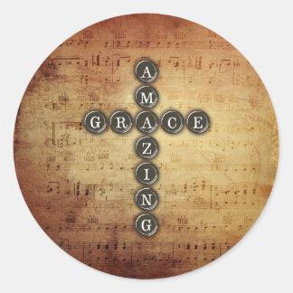 Amazing Grace Cross on Vintage Music Sheet Classic Round Sticker