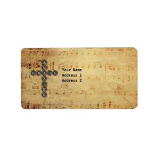Amazing Grace Cross on Vintage Music Sheet Custom Label