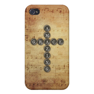 Amazing Grace Cross on Vintage Music Sheet iPhone 4 Cover