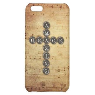 Amazing Grace Cross on Vintage Music Sheet Case For iPhone 5C