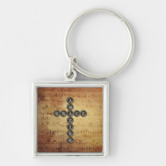 Amazing Grace Cross on Vintage Music Sheet Key Chains