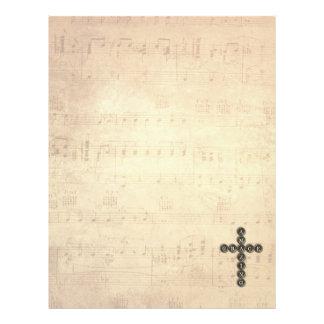Amazing Grace Cross on Vintage Music Sheet Letterhead