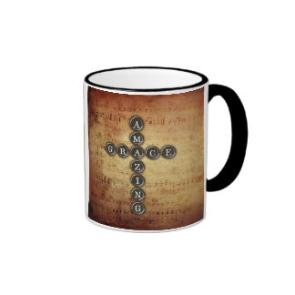Amazing Grace Cross on Vintage Music Sheet Ringer Coffee Mug