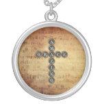 Amazing Grace Cross on Vintage Music Sheet Necklace
