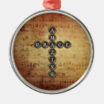 Amazing Grace Cross on Vintage Music Sheet Christmas Tree Ornament