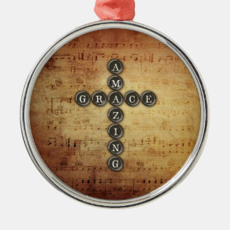 Amazing Grace Cross on Vintage Music Sheet Round Metal Christmas Ornament