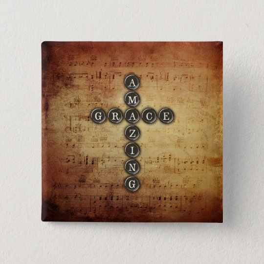 Amazing Grace Cross on Vintage Music Sheet Pinback Button