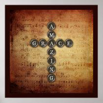 Amazing Grace Cross on Vintage Music Sheet Poster
