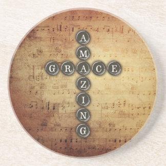 Amazing Grace Cross on Vintage Music Sheet Sandstone Coaster