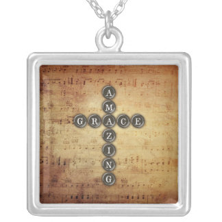 Amazing Grace Cross on Vintage Music Sheet Silver Plated Necklace