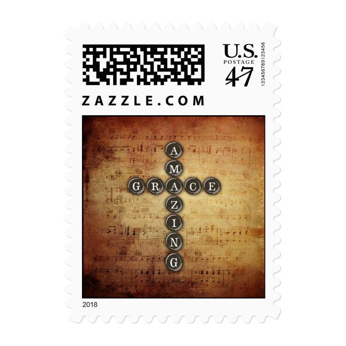Amazing Grace Cross on Vintage Music Sheet Stamp