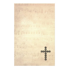 Amazing Grace Cross On Vintage Music Sheet Stationery at Zazzle