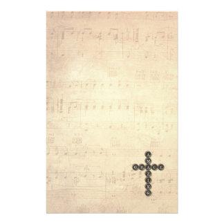 Amazing Grace Cross on Vintage Music Sheet Stationery