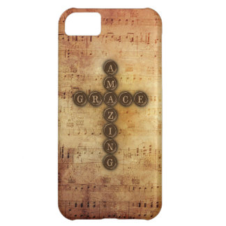 Amazing Grace Cross on Vintage Sheet Music iPhone 5C Cases