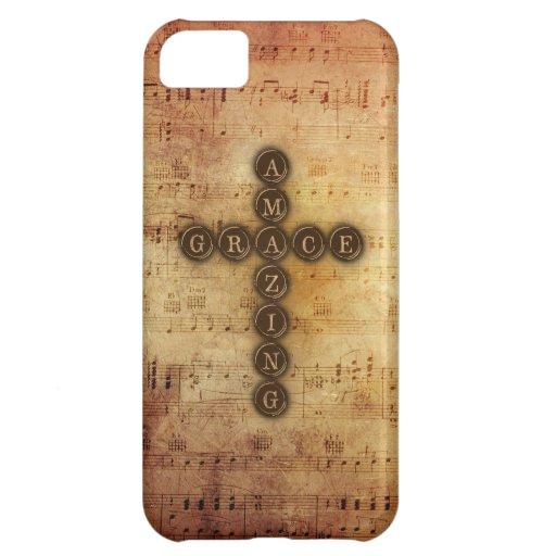 Amazing Grace Cross on Vintage Sheet Music iPhone 5C Cases