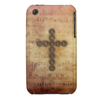 Amazing Grace Cross on Vintage Sheet Music iPhone 3 Case