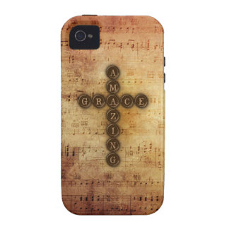Amazing Grace Cross on Vintage Sheet Music iPhone 4/4S Covers
