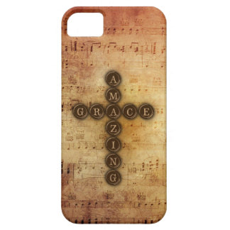Amazing Grace Cross on Vintage Sheet Music iPhone 5 Cover