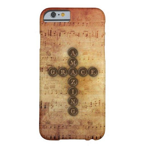 Amazing Grace Cross on Vintage Sheet Music iPhone 6 Case