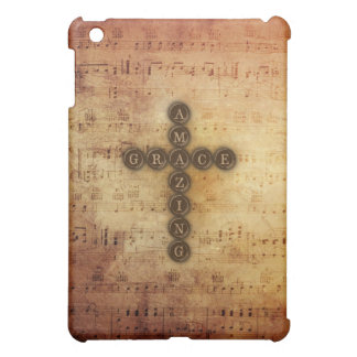 Amazing Grace Cross on Vintage Sheet Music Cover For The iPad Mini