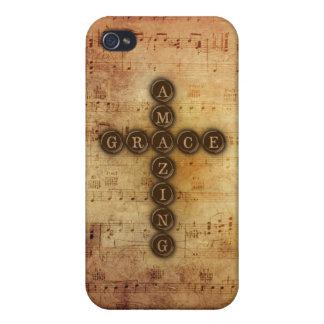 Amazing Grace Cross on Vintage Sheet Music iPhone 4 Case