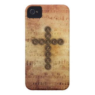 Amazing Grace Cross on Vintage Sheet Music iPhone 4 Case-Mate Case