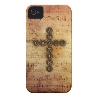 Amazing Grace Cross on Vintage Sheet Music iPhone 4 Cover