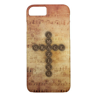 Amazing Grace Cross on Vintage Sheet Music iPhone 8/7 Case