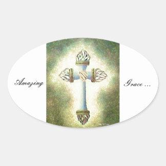 Amazing Grace Cross Oval Sticker