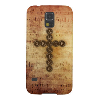 Amazing Grace Cross with Aged Vintage Music Notes Galaxy S5 Case