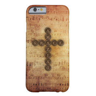 Amazing Grace Cross With Vintage Musical Notes Barely There iPhone 6 Case