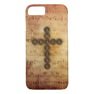 Amazing Grace Cross With Vintage Musical Notes iPhone 7 Case