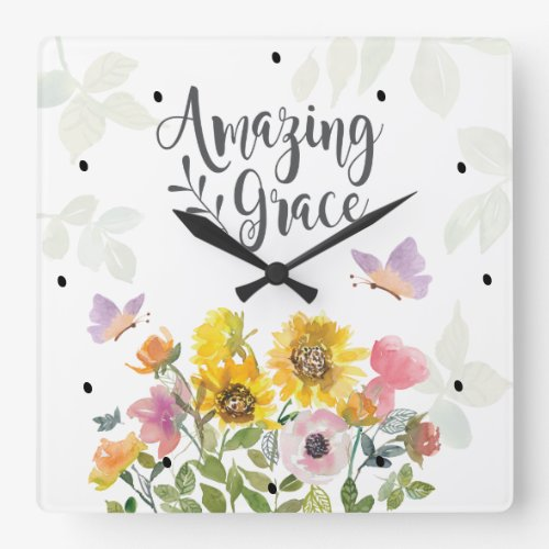 Amazing Grace Flowers and Butterflies Christian Square Wall Clock
