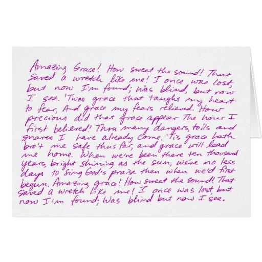 Amazing Grace Handwritten Lyrics Greeting Card