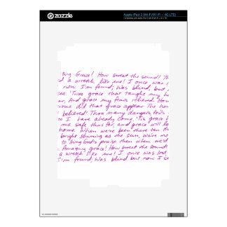 Amazing Grace handwritten lyrics iPad 3 Decals