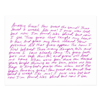 Amazing Grace handwritten lyrics Postcard