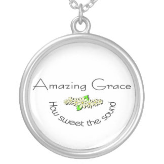 Amazing Grace how sweet the sound Christian Silver Plated Necklace