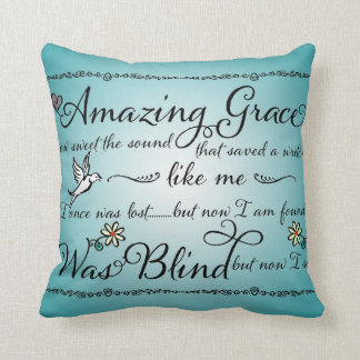 Amazing Grace How Sweet the Sound Word Art Throw Pillows