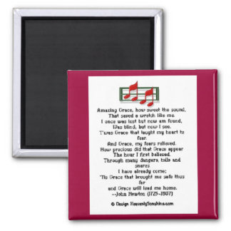 Amazing Grace Hymn 2 Inch Square Magnet