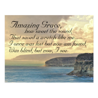 Amazing Grace Hymn Ocean Sunset Postcard