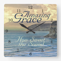Amazing Grace Hymn Ocean Sunset Square Wall Clock