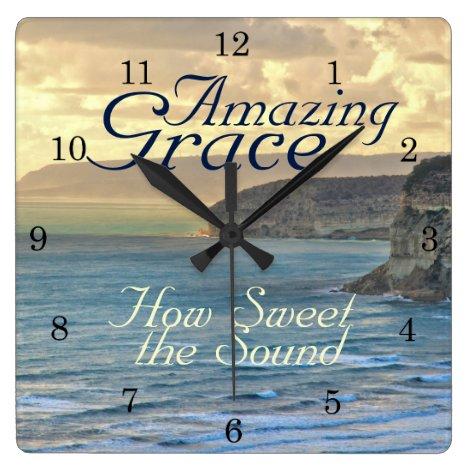 Amazing Grace Hymn Ocean Sunset Square Wall Clock