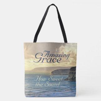 Amazing Grace Hymn Ocean Sunset, Tote Bag