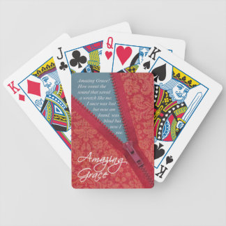 Amazing Grace Hymn - Red Floral Zipper Pull Design Bicycle Playing Cards