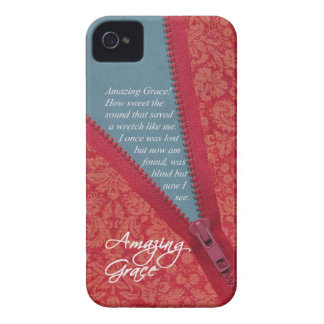 Amazing Grace Hymn - Red Floral Zipper Pull Design iPhone 4 Cases