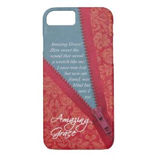Amazing Grace Hymn - Red Floral Zipper Pull Design iPhone 8/7 Case
