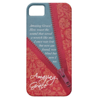 Amazing Grace Hymn - Red Floral Zipper Pull Design iPhone SE/5/5s Case
