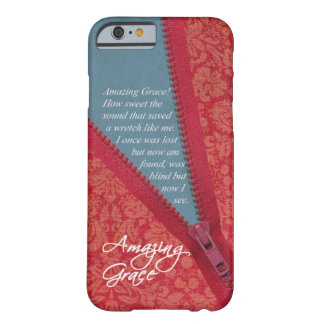 Amazing Grace Hymn - Red Floral Zipper Pull Design iPhone 6 Case