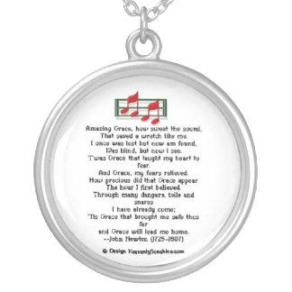 Amazing Grace Hymn Round Pendant Necklace