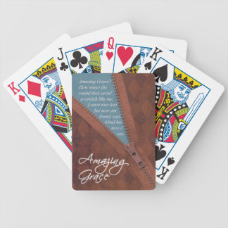Amazing Grace Hymn Song - Brown Zipper Pull Design Bicycle Playing Cards